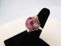 14K Gold Ruby Ring with Diamonds